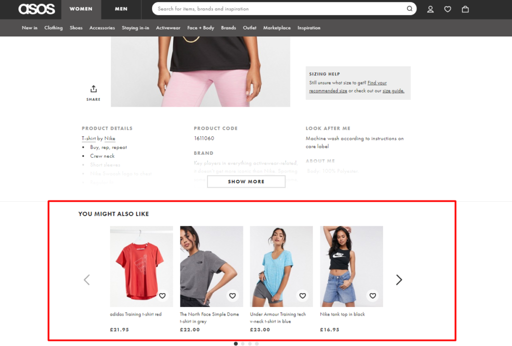 the personalized section on the ASOS website