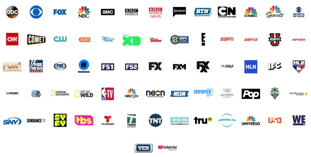 You Tube TV Channels