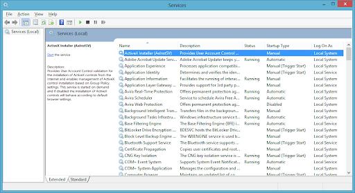 Access Windows Services - services.msc