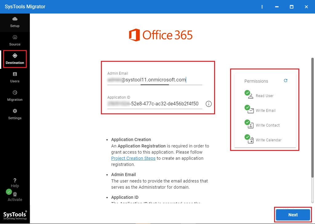 give in the details of Office 365 and Validate it